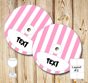 Pink and white striped glass markers  | Free printable glass markers