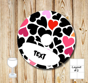 Glass markers with black, red and pink hearts  | Free printable for Valentines day