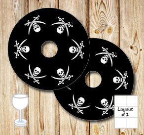 Black glass markers with skulls and sabers  | Free printable glass markers
