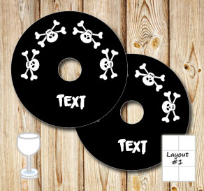 Black glass markers with skulls and text  | Free printable glass markers