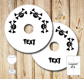 Glass markers with skulls and text  | Free printable glass markers