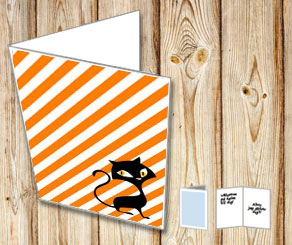 Halloween card with a cat  | Free printable for Halloween