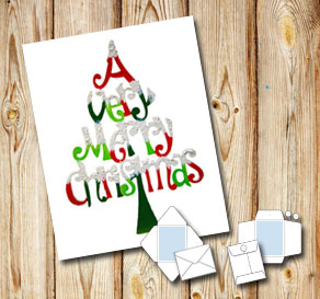 Vitt kuvert med A Very Merry Christmas tree  | Gratis printables att skriva ut till jul