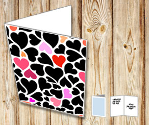 Card with hearts in black, red and pink  | Free printable for Valentines day