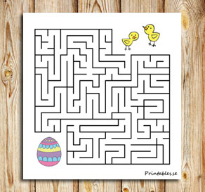 Small maze: Help the chicks find their easter egg  | Free printable for Easter