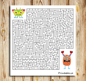 Maze: Help the love monster find its friend 2  | Free printable for Valentines day