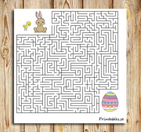 Small maze: Help the animals find their easter egg  | Free printable for Easter