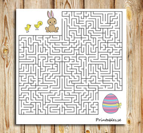 Small maze: Help the animals find their easter egg 2  | Free printable for Easter