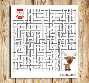 Maze: Help santa find his reindeer  | Free printable for Christmas