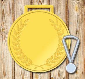 Gold medal with a laurel and editable text  | Free printable