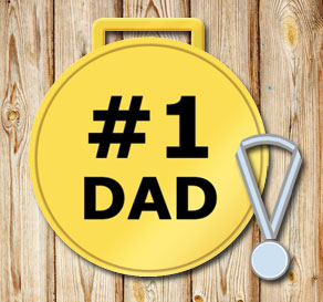 Gold medals: #1 Dad in black  | Free printable for Fathers day