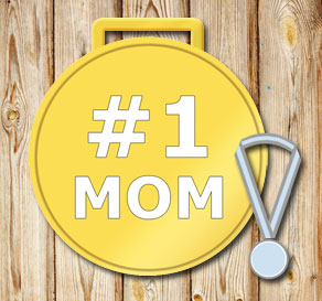 Gold medals: #1 Mom in white  | Free printable for Mothers day