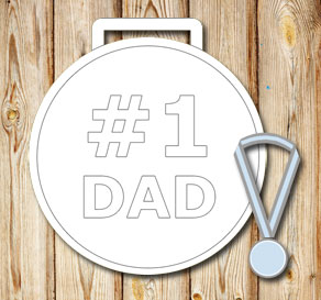 White medals: #1 Dad  | Free printable for Fathers day