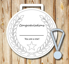 Gratis utskrivbara Vita medaljer: You are a star