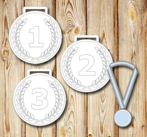 White medals with laurels and the numbers 1 2 3  | Free printable