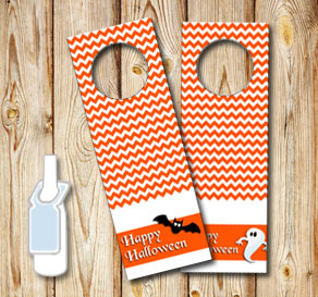 Orange neck tags for Halloween  | Free printable for Halloween