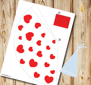White party hat with red hearts-3  | Free printable for Valentines day