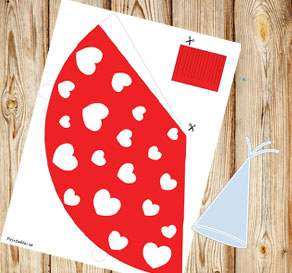 Red party hat with white hearts-3  | Free printable for Valentines day