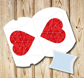 White pillow box with red graphic heart  | Free printable for Valentines day