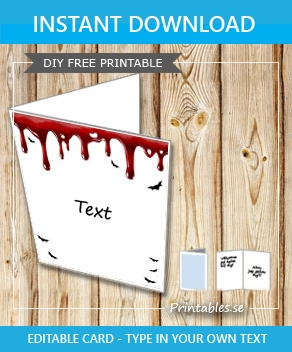 Bloody Halloween card with text  | Free printable for Halloween