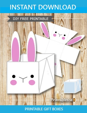 White easter basket box with simple easter bunny negle Gallery
