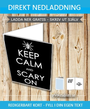 Keep Calm And Scary On kort  | Gratis printables att skriva ut till Halloween