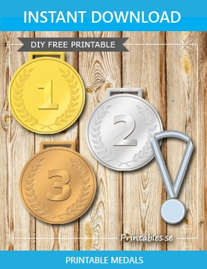 Gold, silver and bronze medals with laurels and the numbers 1 2 3  | Free printable