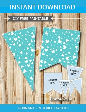 Turquoise pennants with white hearts  | Free printable for Valentines day