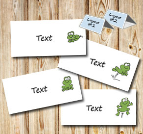 Placement card with small frogs  | Free printable for Midsummer