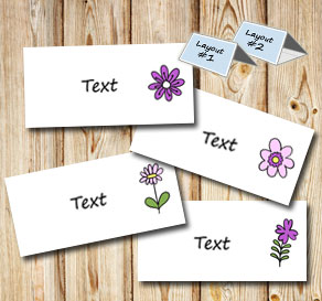 Placement card with spurple flowers 2  | Free printable for Midsummer