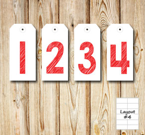 Gift labels with 1 2 3 4 in red for an advent calendar  | Free printable for Christmas