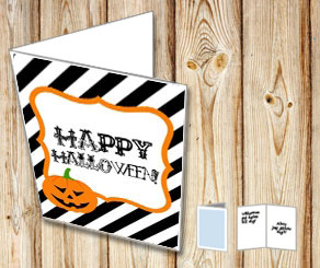 Striped Happy Halloween card with a pumpkin  | Free printable for Halloween