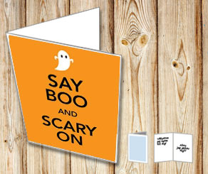 Say Boo And Scary On kort  | Gratis printables att skriva ut till Halloween