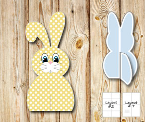 Yellow sitting easter bunnys with white dots  | Free printable for Easter