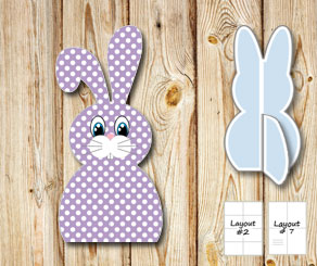 Purple sitting easter bunnys with white dots  | Free printable for Easter