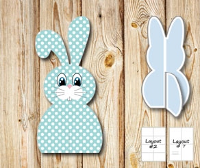 Turquoise sitting easter bunnys with white dots  | Free printable for Easter