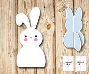 Sitting cute easter bunnys  | Free printable for Easter