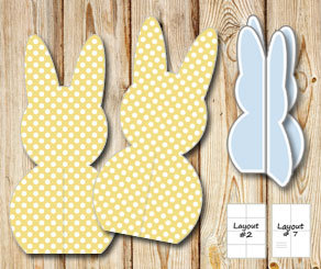 Standing yellow easter bunnys with white dots  | Free printable for Easter