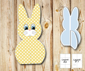 Standing yellow and white dotted easter bunnys  | Free printable for Easter
