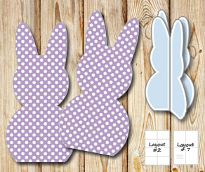 Standing purple easter bunnys with white dots  | Free printable for Easter