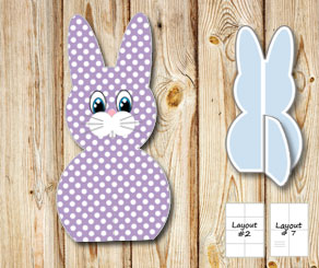 Standing purple and white dotted easter bunnys  | Free printable for Easter