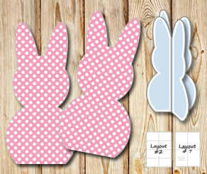 Standing pink easter bunnys with white dots  | Free printable for Easter