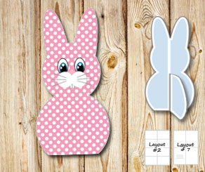 Standing pink and white dotted easter bunnys  | Free printable for Easter