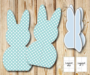 Standing turquoise easter bunnys with white dots  | Free printable for Easter