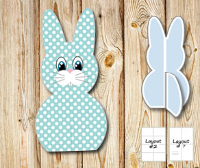 Standing turquoise and white dotted easter bunnys  | Free printable for Easter