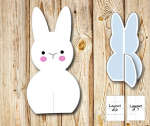 Standing cute easter bunnys  | Free printable for Easter