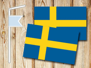 Straw decoretions with the Swedish flag  | Free printable for Midsummer