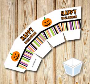 Treat box with Happy Halloween and pumpkins  | Free printable for Halloween