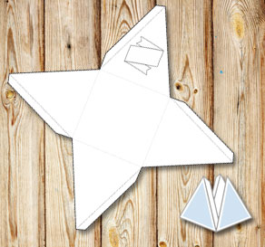 Pyramid gift box with a banner to color yourself 1  | Free printable gift box