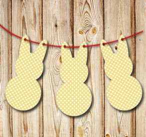 Yellow pennants in the shape of easter bunnys with ...  | Free printable for Easter